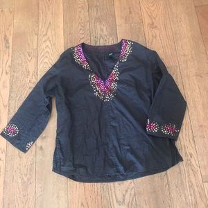 chocolate brown top with sequins